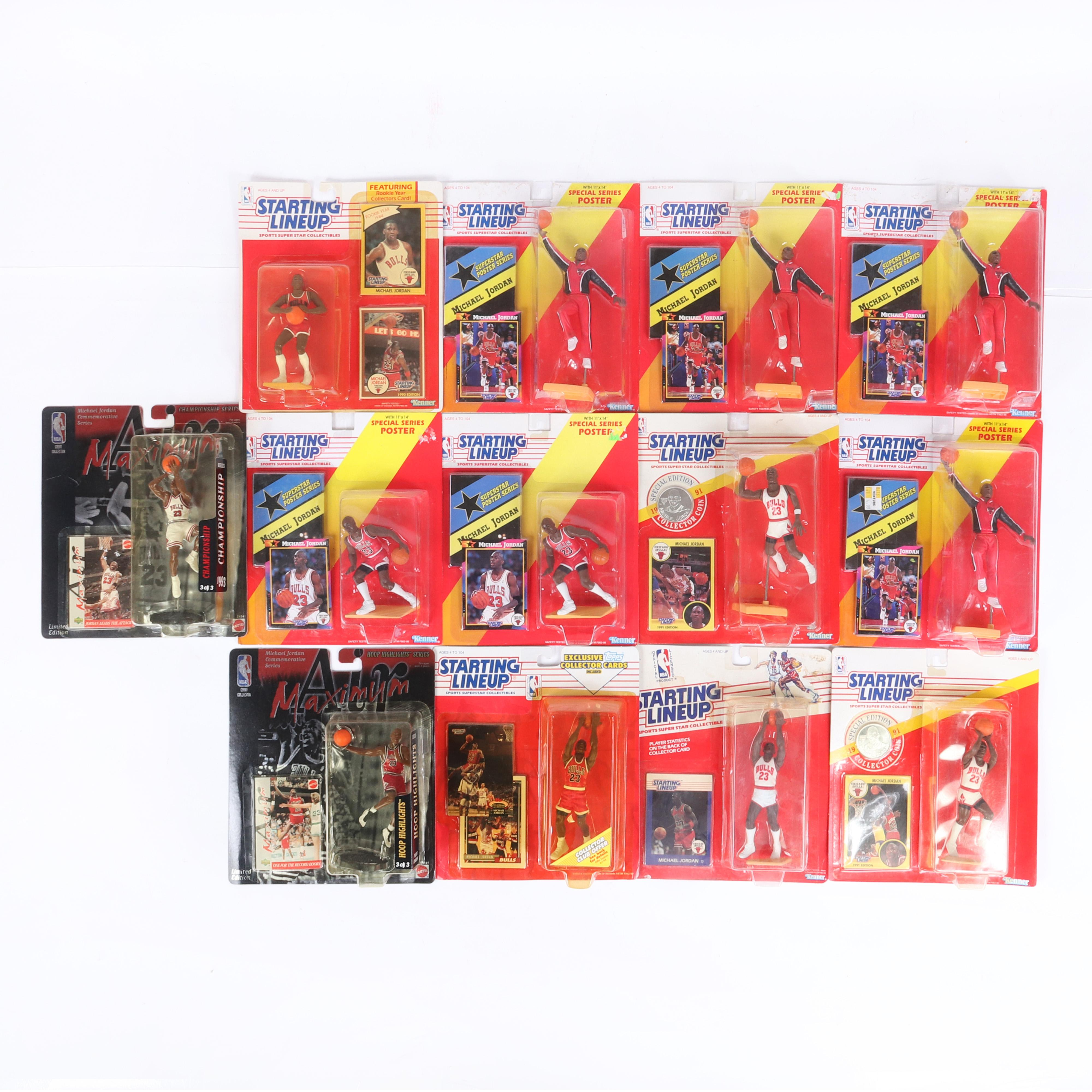 11 Michael Jordan Starting Lineup & 2 Air Maximum Figurines
