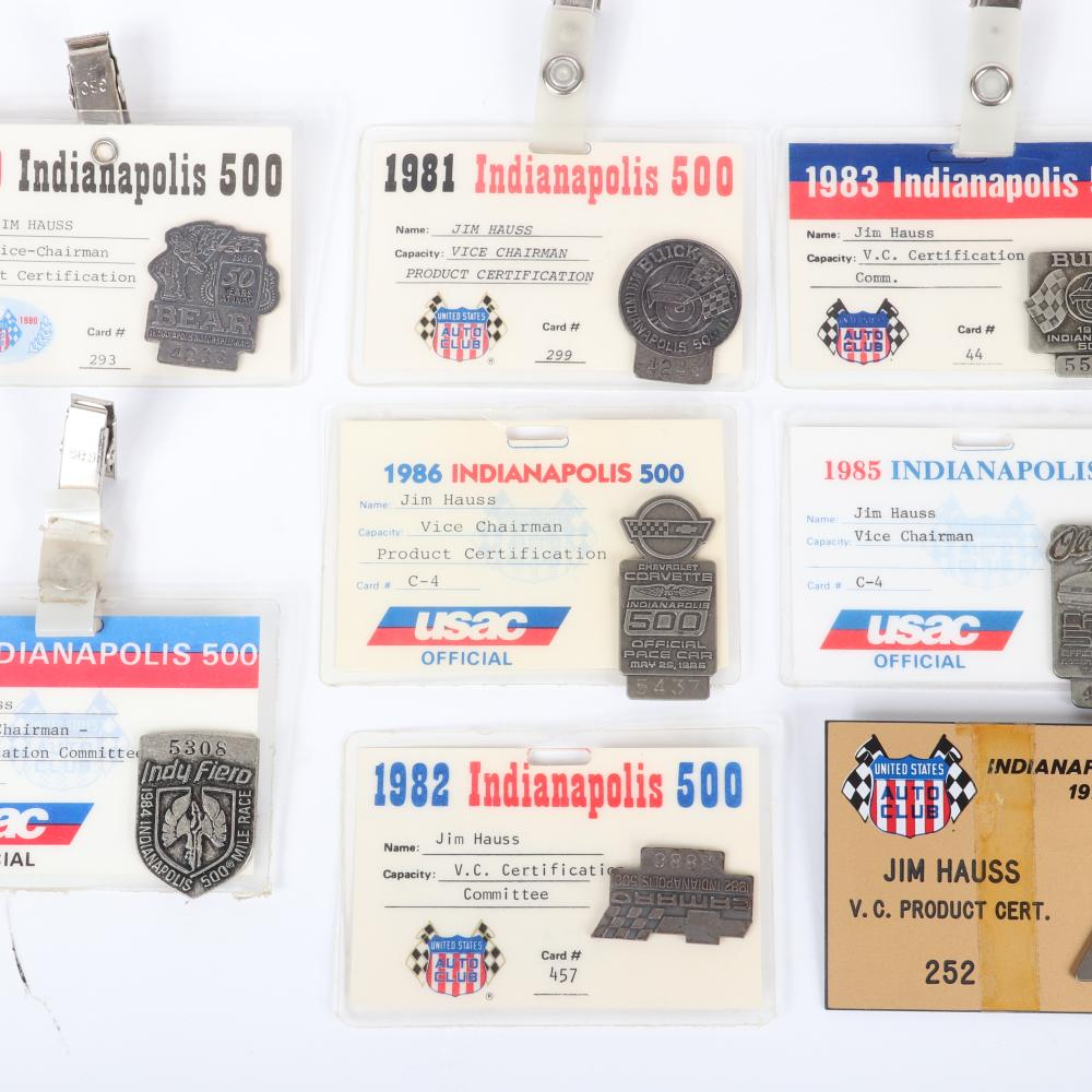 Lot of 8 Indianapolis 500 USAC Official Credentials with Silver Pit Badges 1979-1986