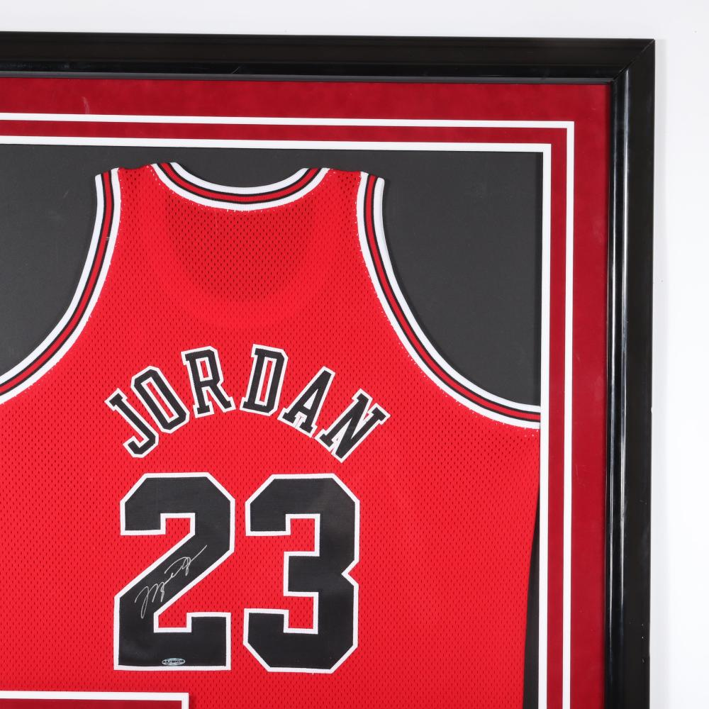 Michael Jordan Autographed & Framed UDA Authenticated Jersey.