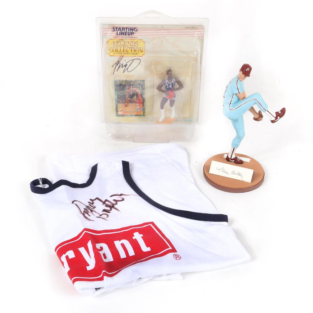 Lot of 2 Autographed Figurines and Shirt