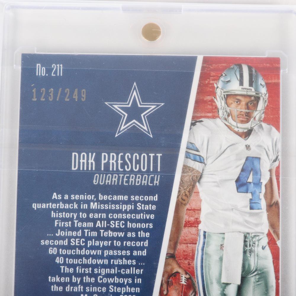 2016 Panini Dak Prescott Autographed Rookie Jersey Card #211, 123/499