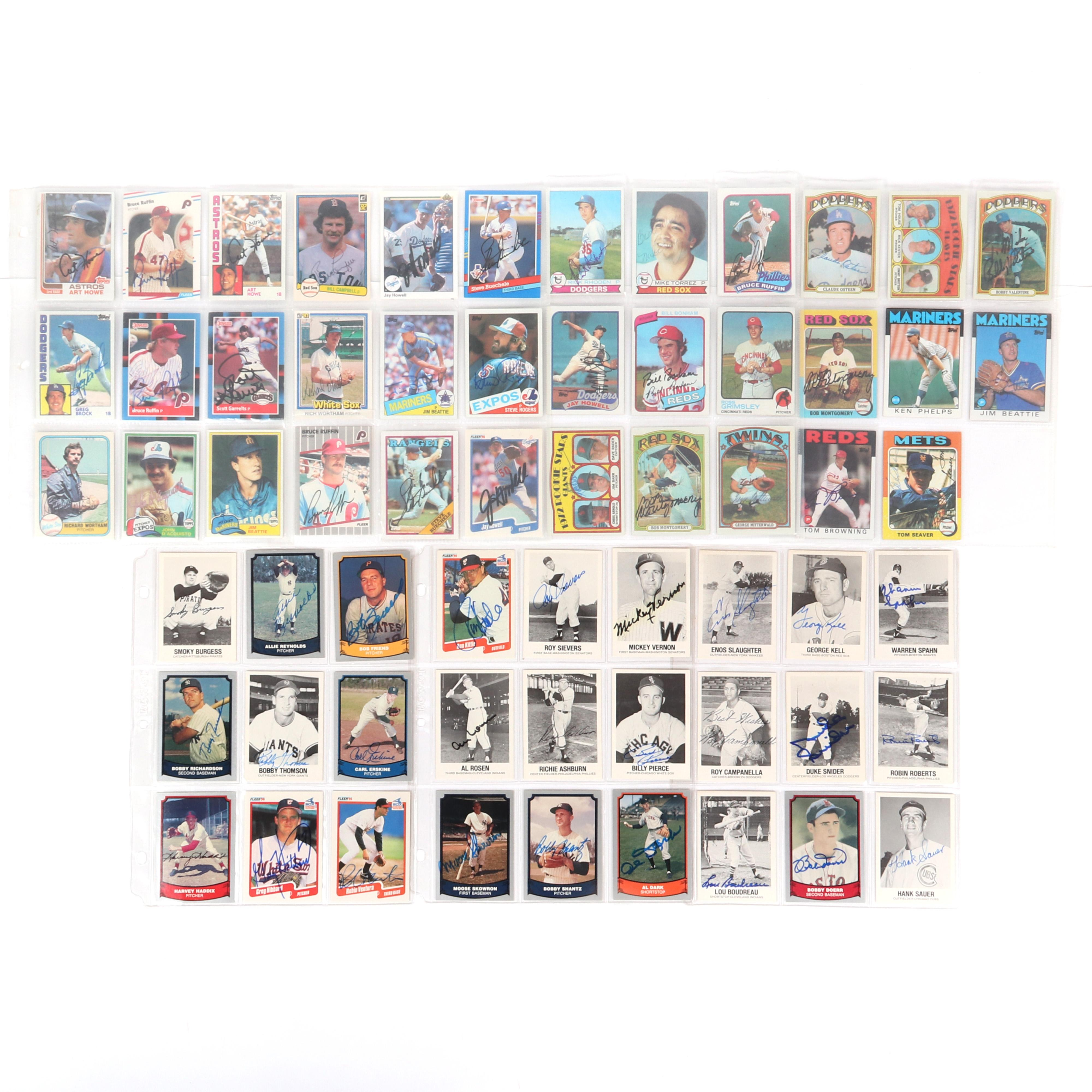 62 Autographed Baseball Cards, HOF, Stars, Semi-Stars