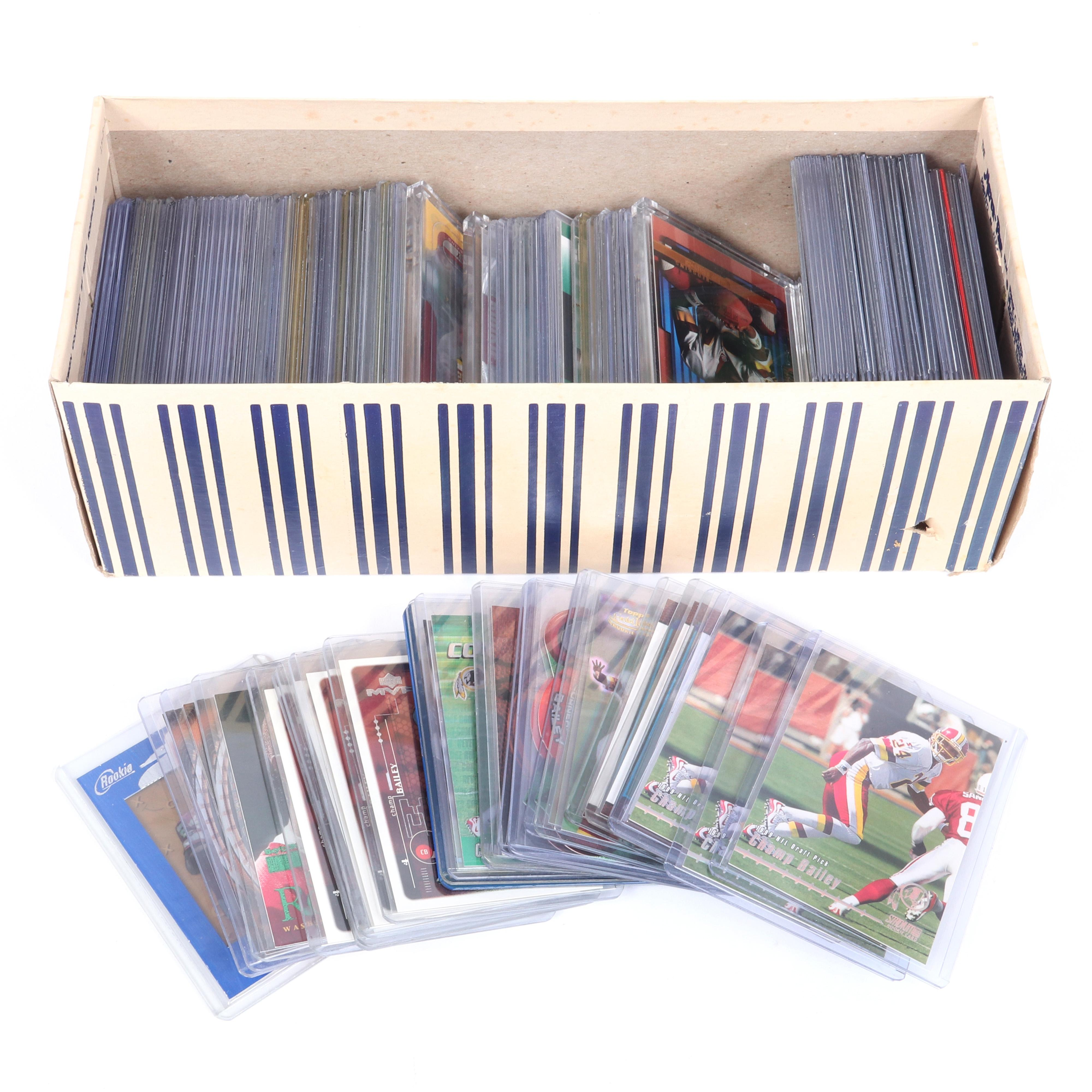 Lot of 123 Hall of Famer Champ Bailey Rookie Football Cards