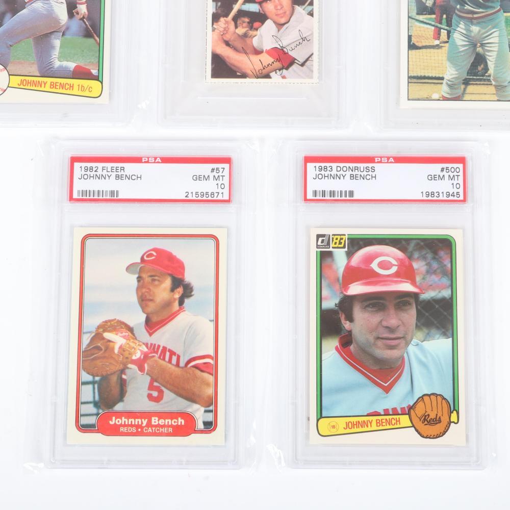 Lot of 5 Johnny Bench PSA 10 Gem Mint Vintage Baseball Cards