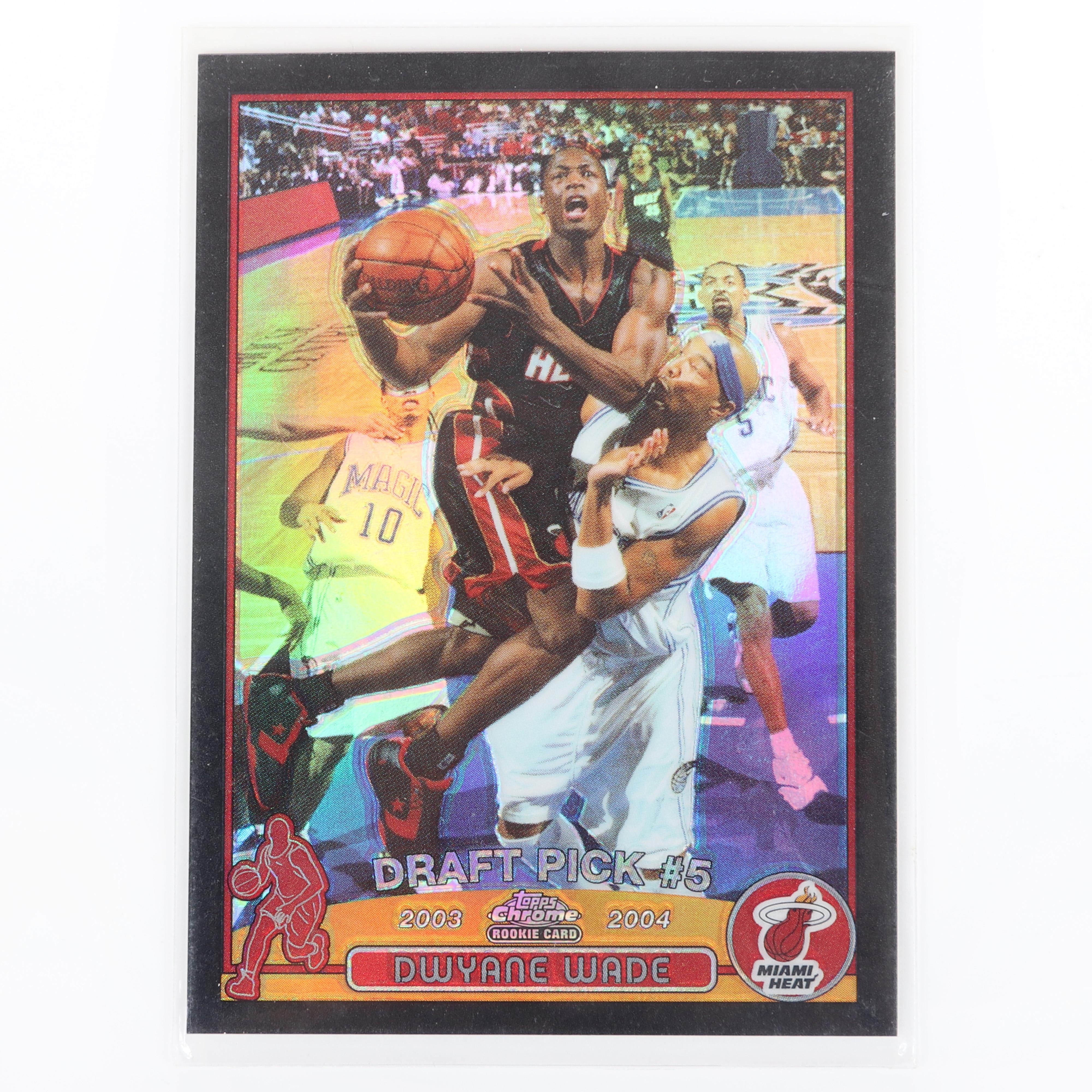 2003-04 Topps Chrome Dwyane Wade Rookie Black Refractor #115, 300/500