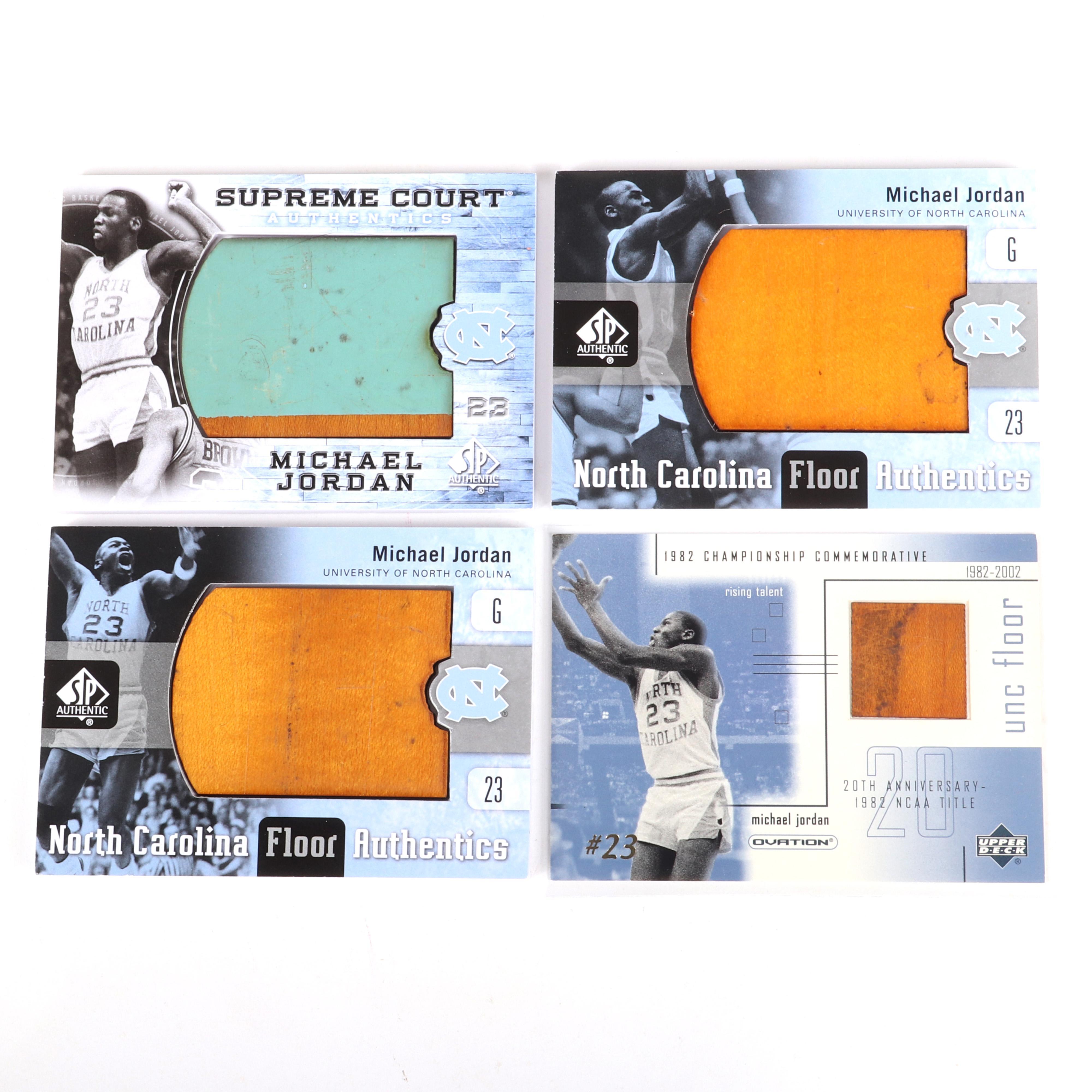 4 Michael Jordan SP Authentics Game Used Floor Cards