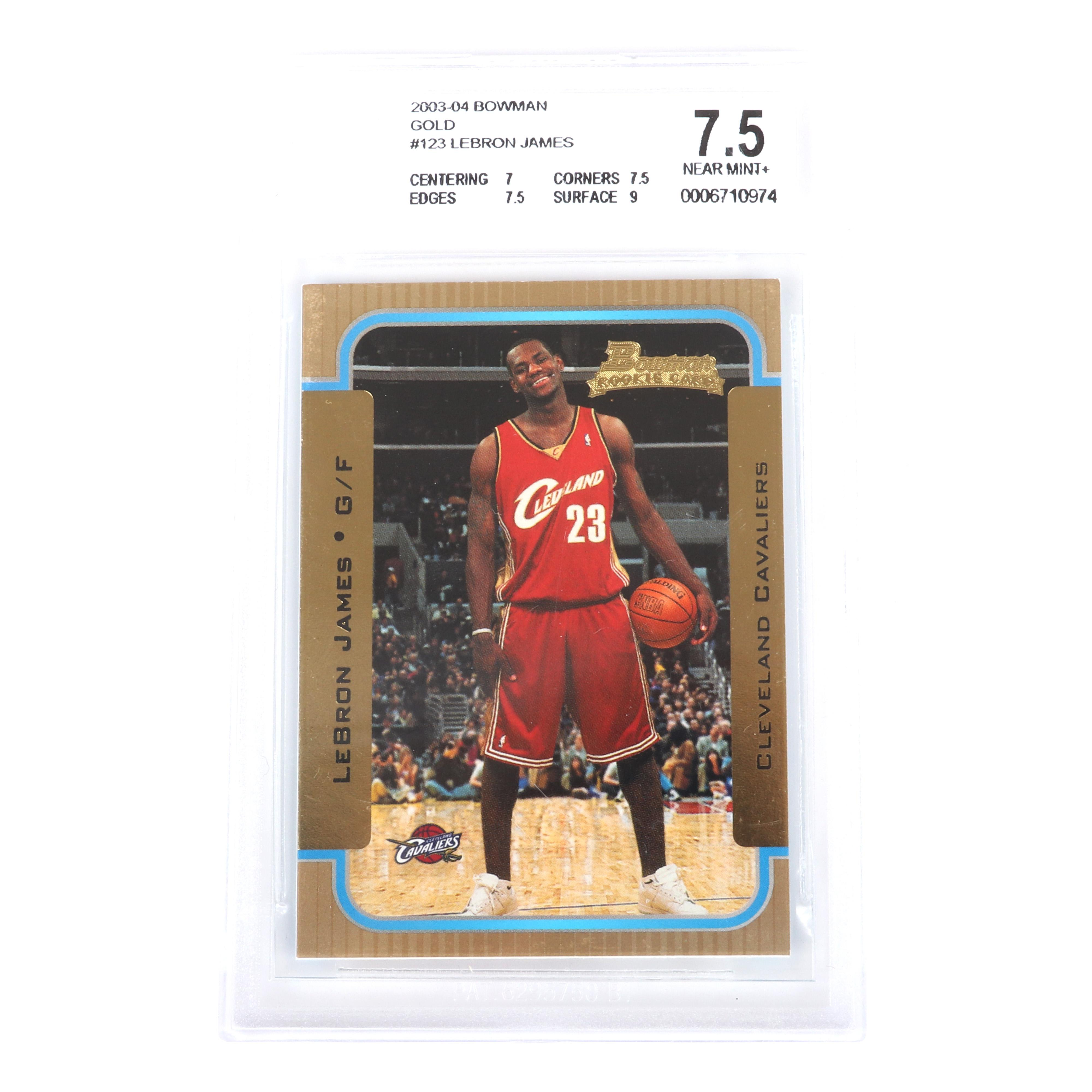 2003-04 Lebron James Bowman Gold Rookie Card # 123 BGS 7.5