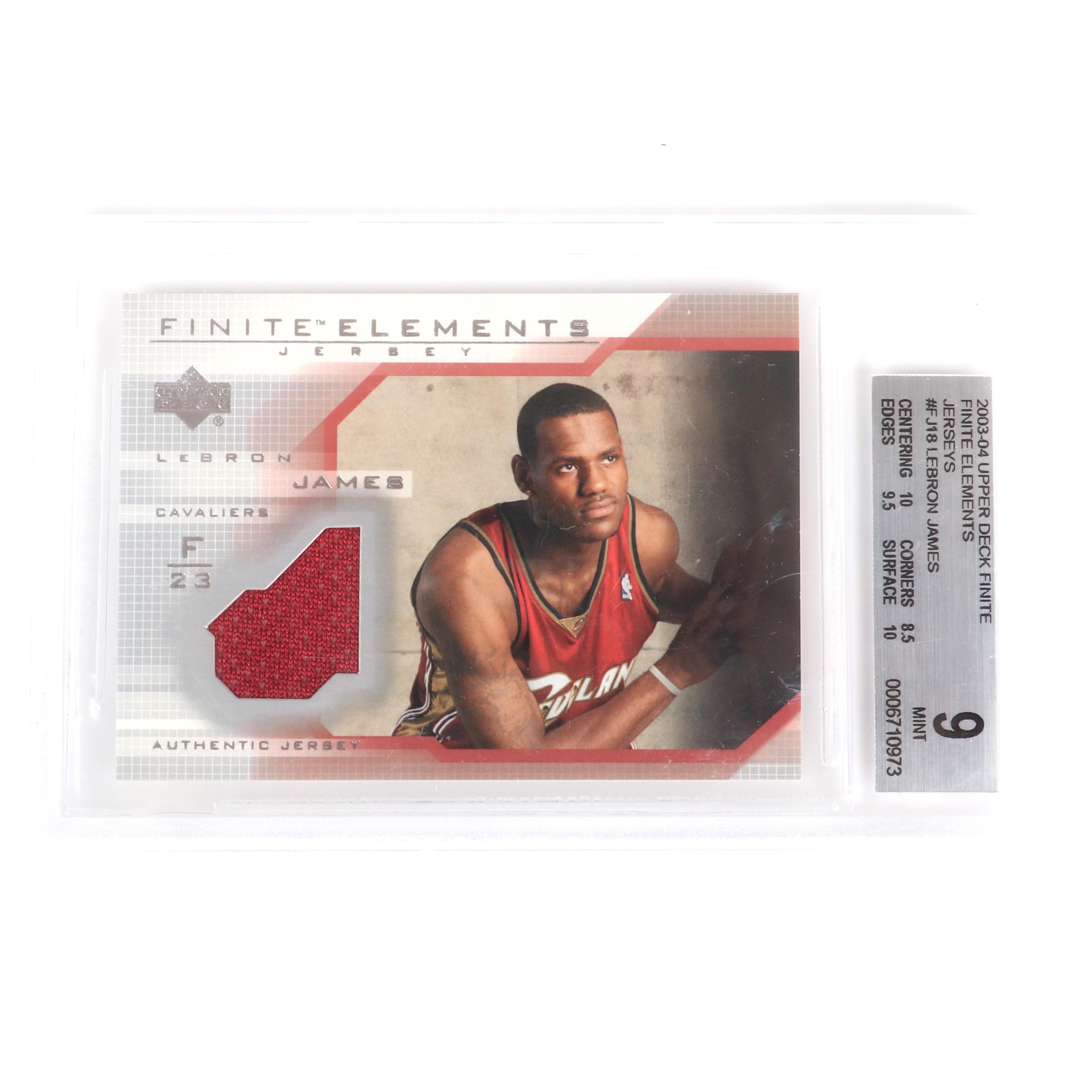 2003-04 Lebron James Rookie Finite Elements Card #FJ18 BGS 9