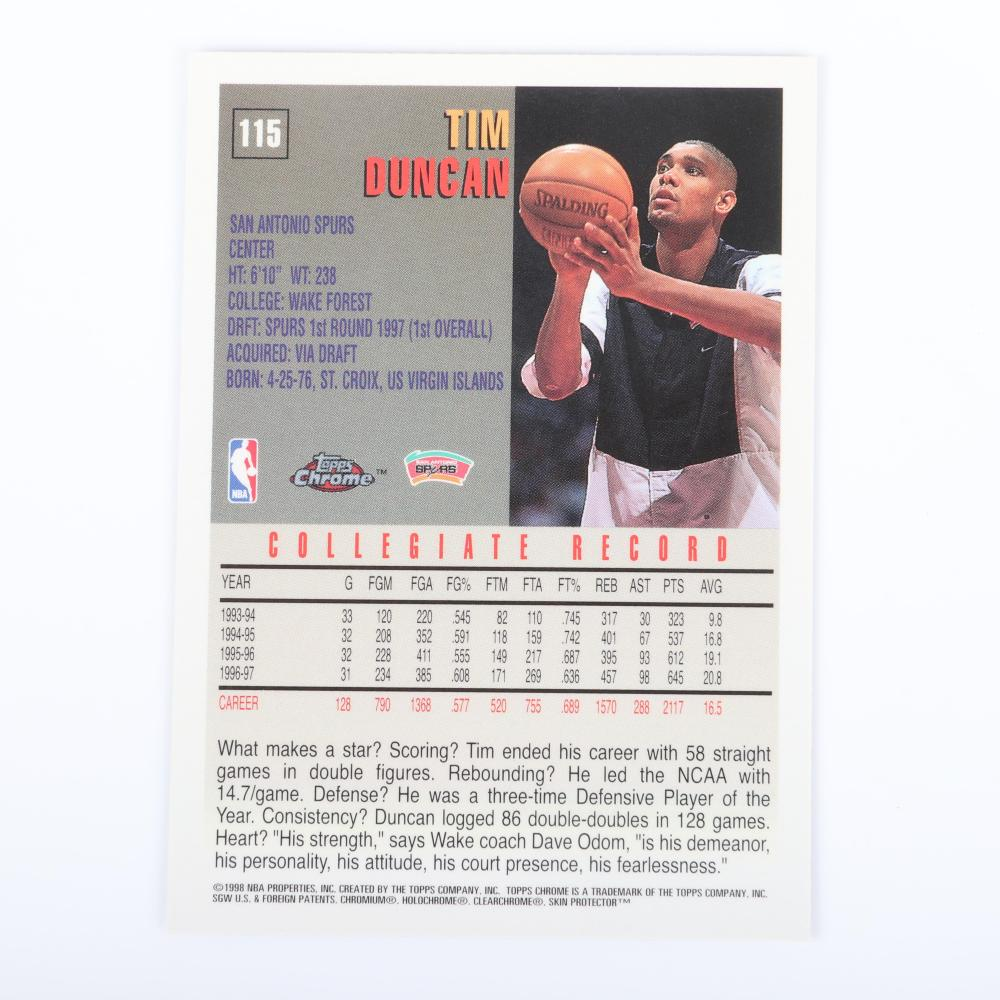 Lot of 2 Tim Duncan 1997-98 Topps Chrome Rookie Cards #115