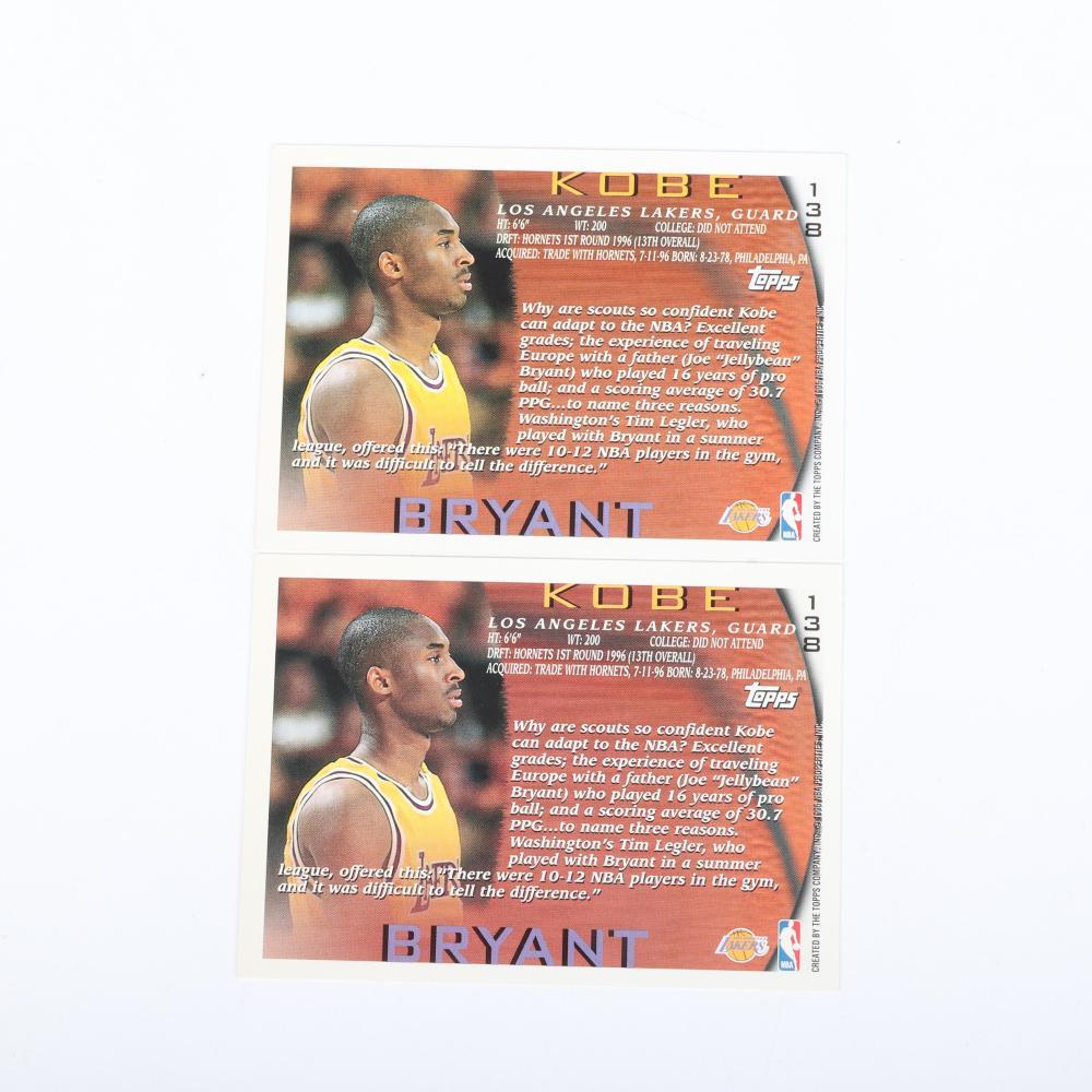 2 Kobe Bryant 1996-97 Topps Rookie Cards #138