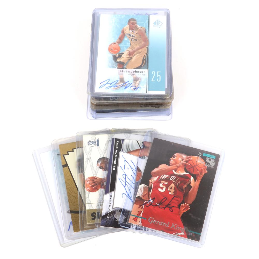 Lot of 28 NBA Stars Autographed Basketball Cards