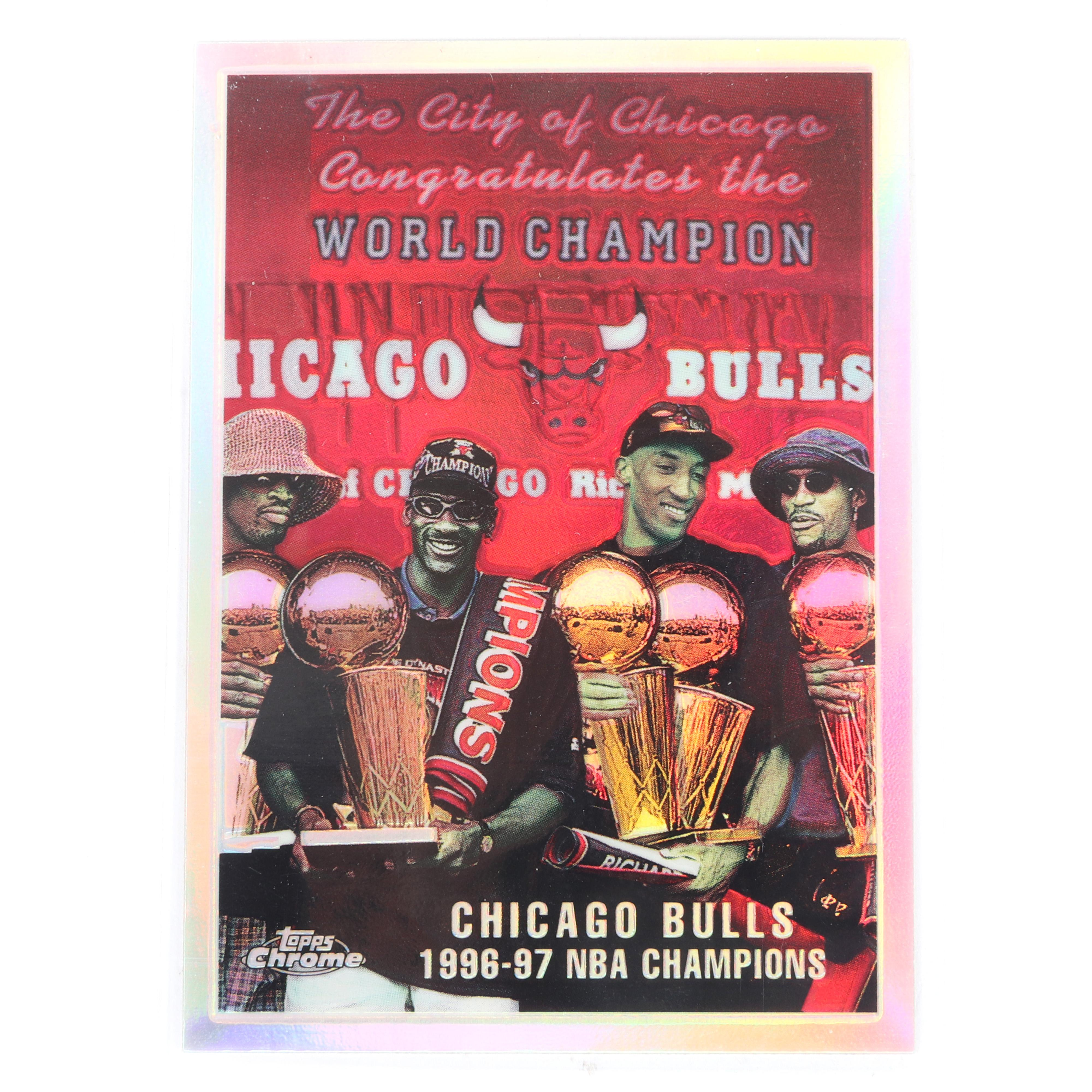 1997-98 Topps Chrome Refractor Chicago Bulls NBA Champions Checklist #51