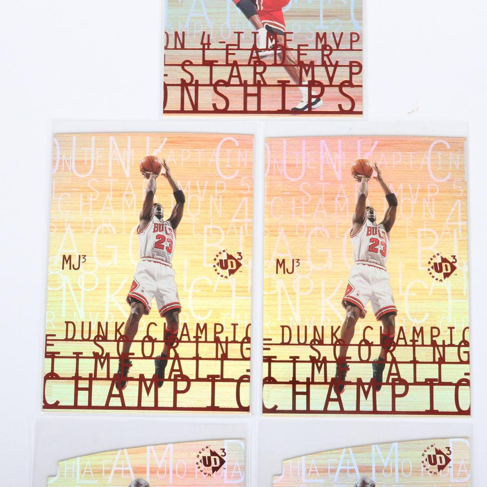 Lot of 5 Michael Jordan 1997 Upper Deck Dunk Champion Insert Cards.