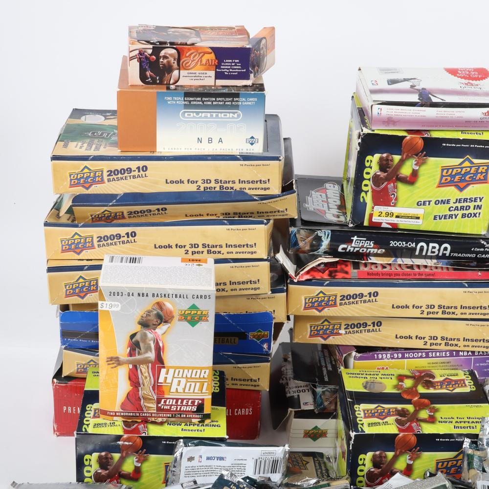 Large Lot of Basketball Wax Pack Wrappers & Boxes