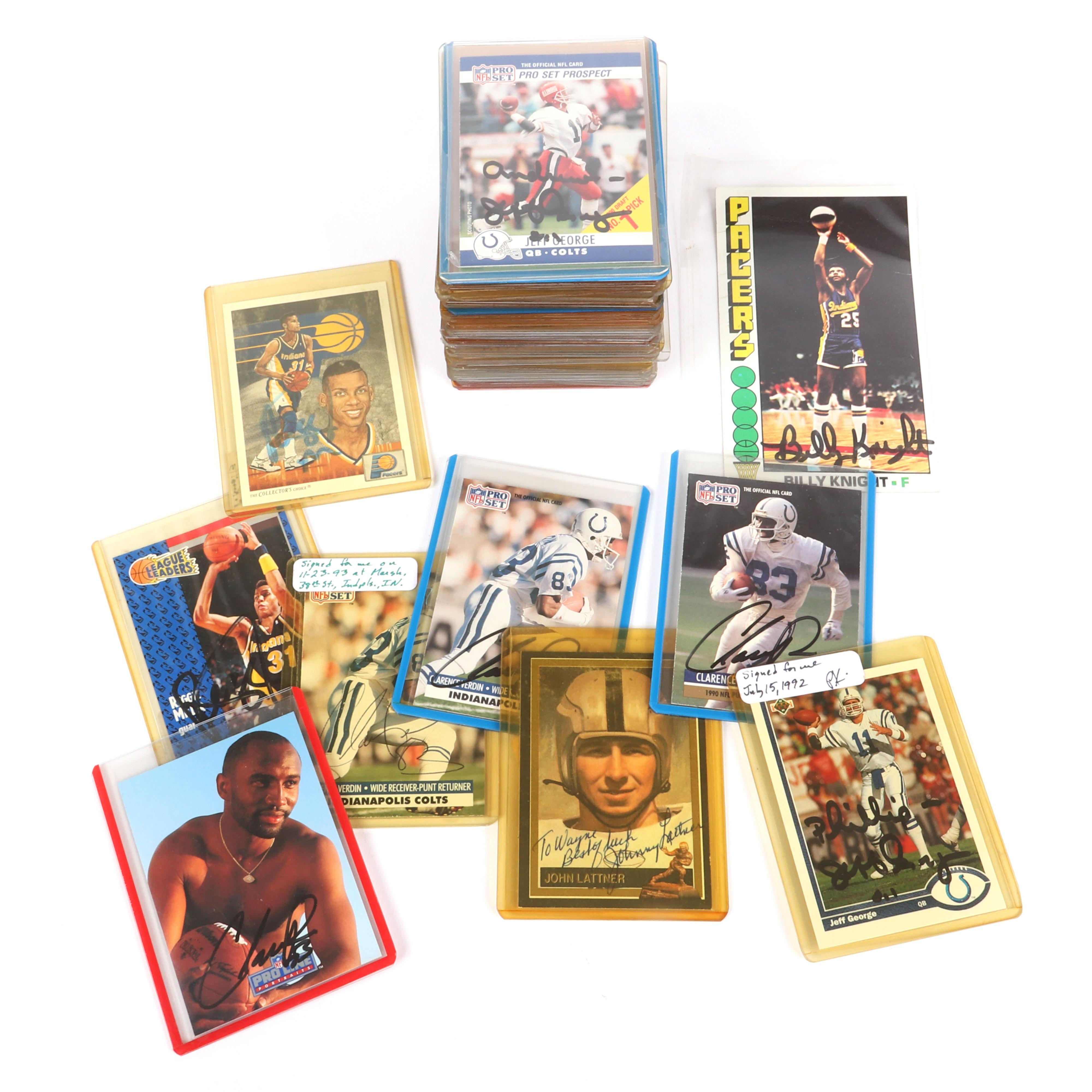 59 Autographed Indiana Pacers and Indianapolis Colts Trading Cards