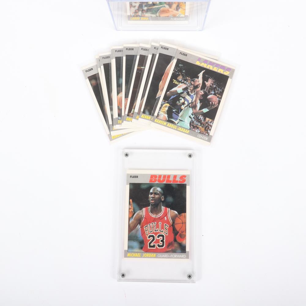 1987-88 Fleer Basketball 132 Card Set with Michael Jordan Autographed Card