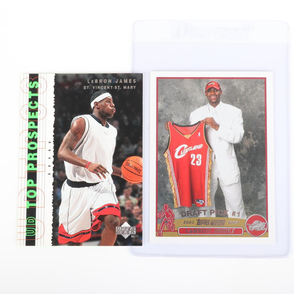 2003-04 Lebron James Topps Rookie Card #221 and 3 UD Top Prospects #55 & #60