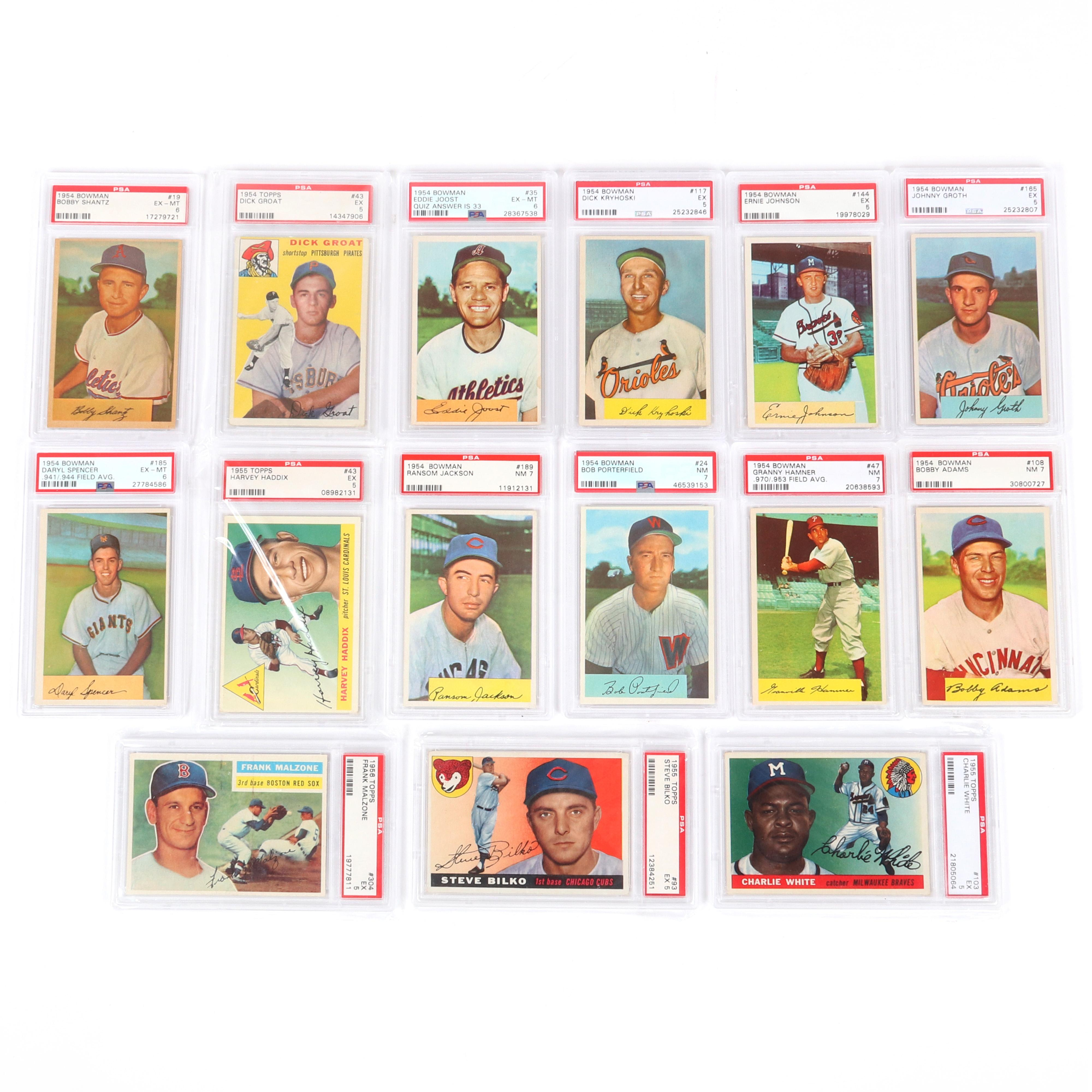 Lot of 15 1954-1956 Baseball Cards Graded PSA EX, EX-MT