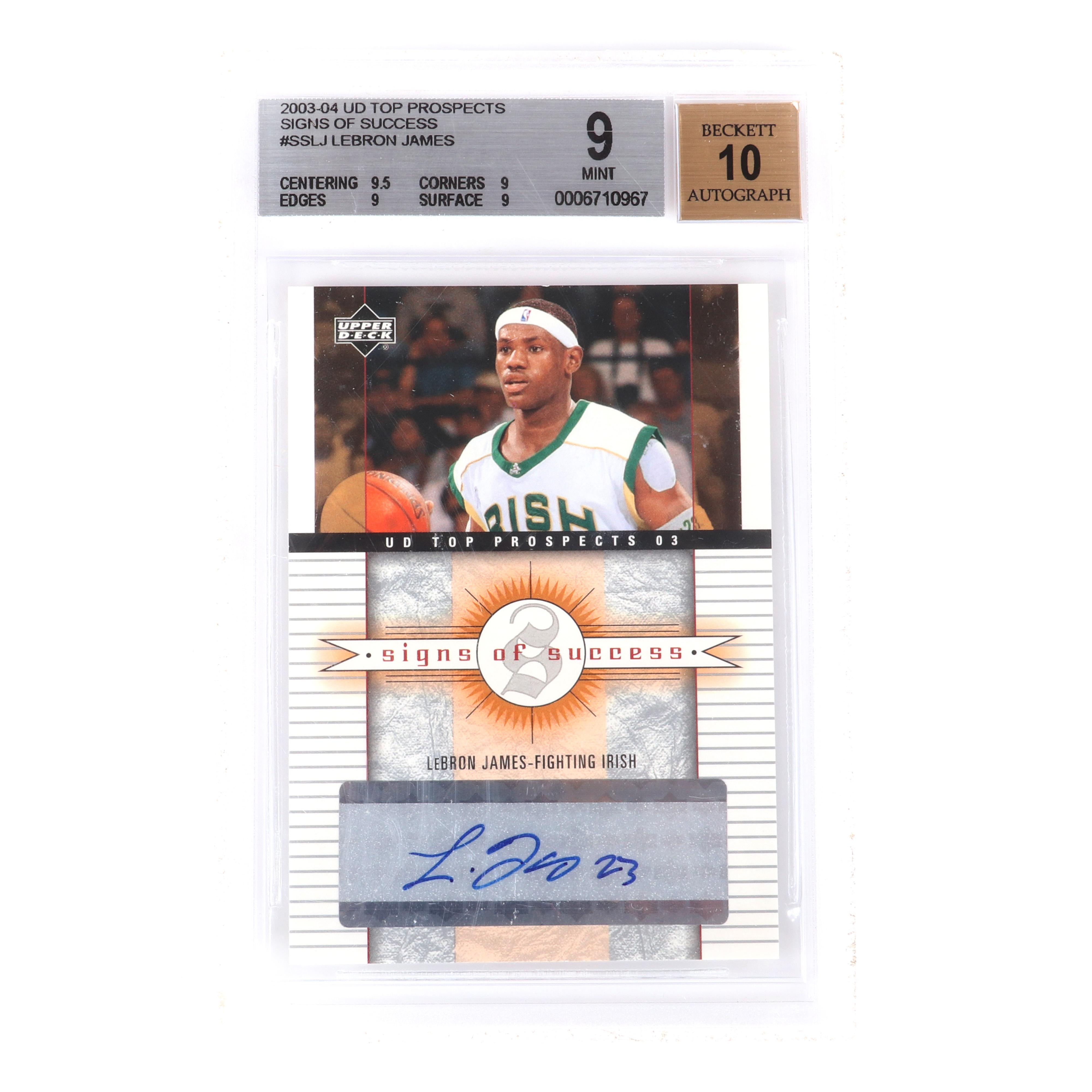2003-04 Lebron James Rookie UD Top Prospects Signs of Success Rookie Autograph Card #SS-LJ BGS 9 Autograph 10.