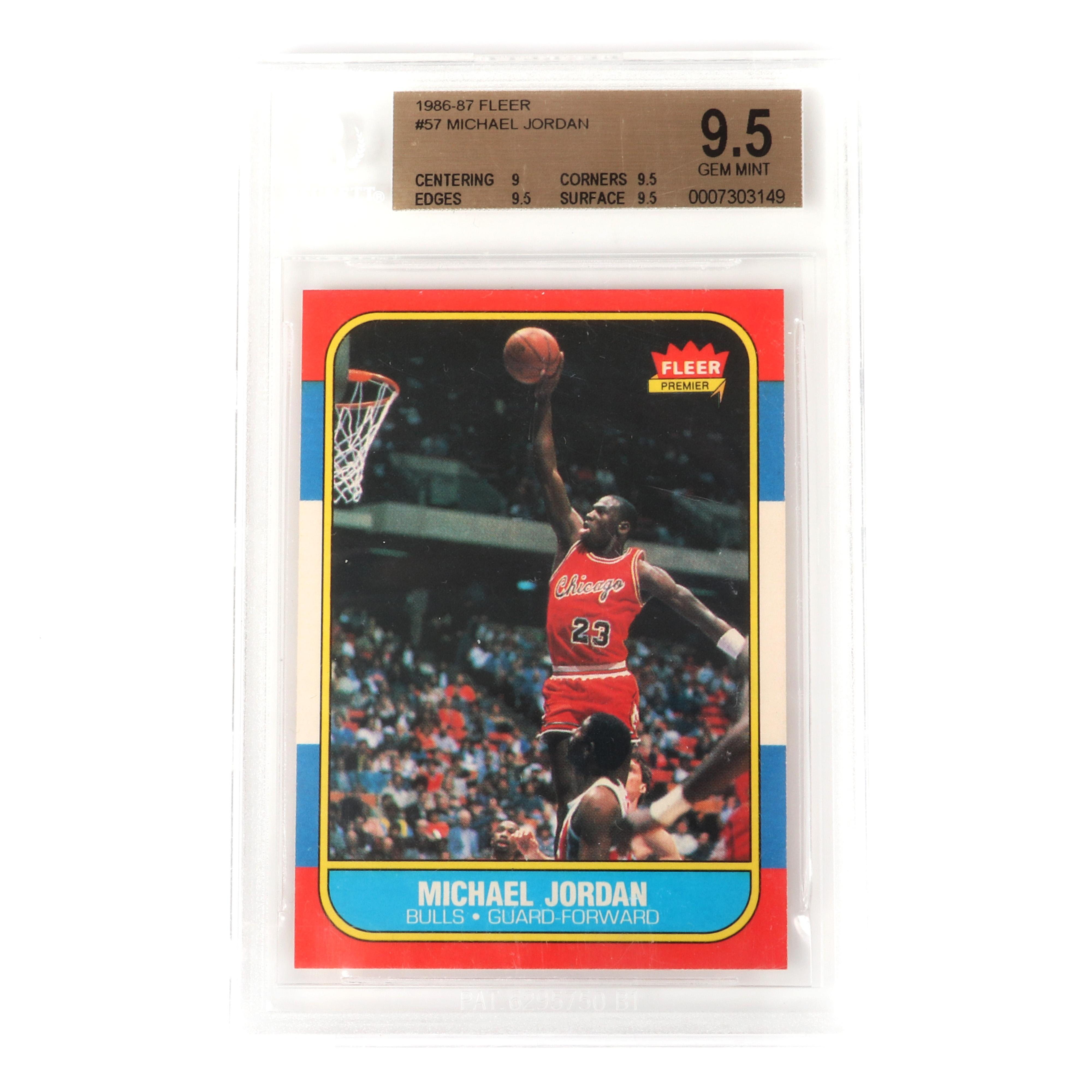 Michael Jordan 1986-87 Fleer Rookie Card #57 BGS 9.5 Gem Mint.