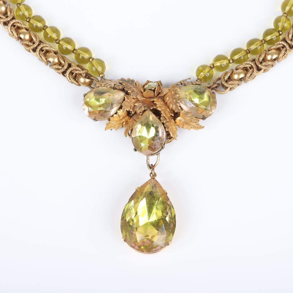 """Miriam Haskell double strand citrine bead and chain choker necklace with large faceted teardrop crystals and coordinating flower spray pin with crystals, rhinestones and brass beads. 14""""L"""