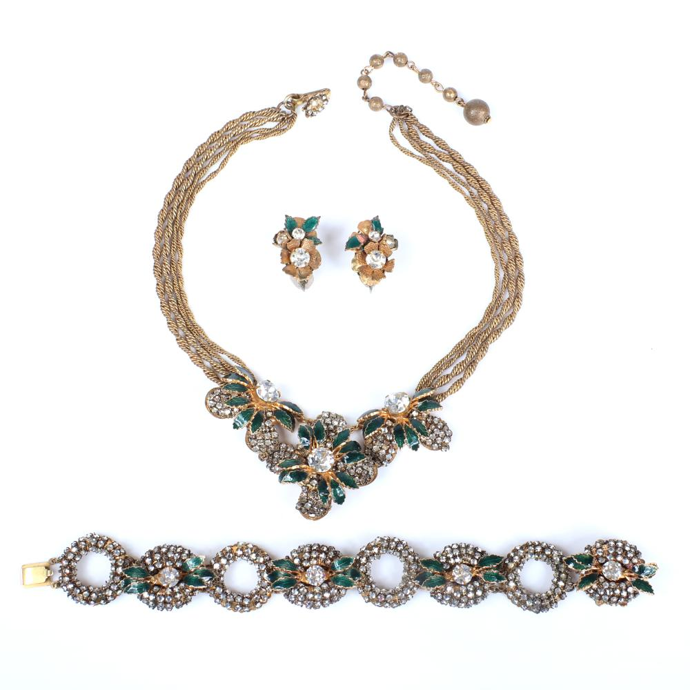 Miriam Haskell 3pc Parure set with green enamel leaves and large crystals; pave circle link bracelet, 4 strand twisted chain necklace and earrings.