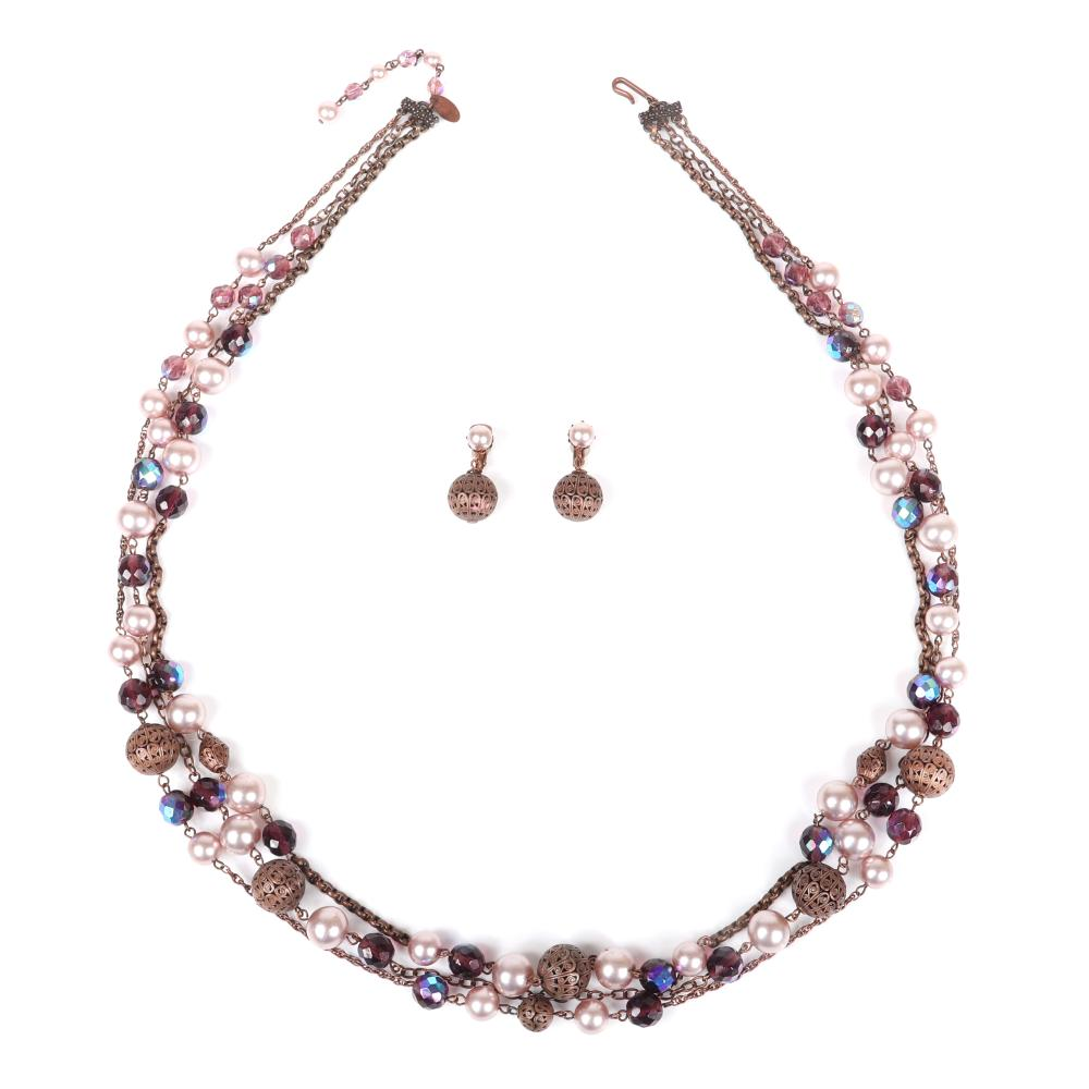 Miriam Haskell 3-strand brass chain necklace with openwork beads, faux pink pearls and iridescent purple faceted beads.