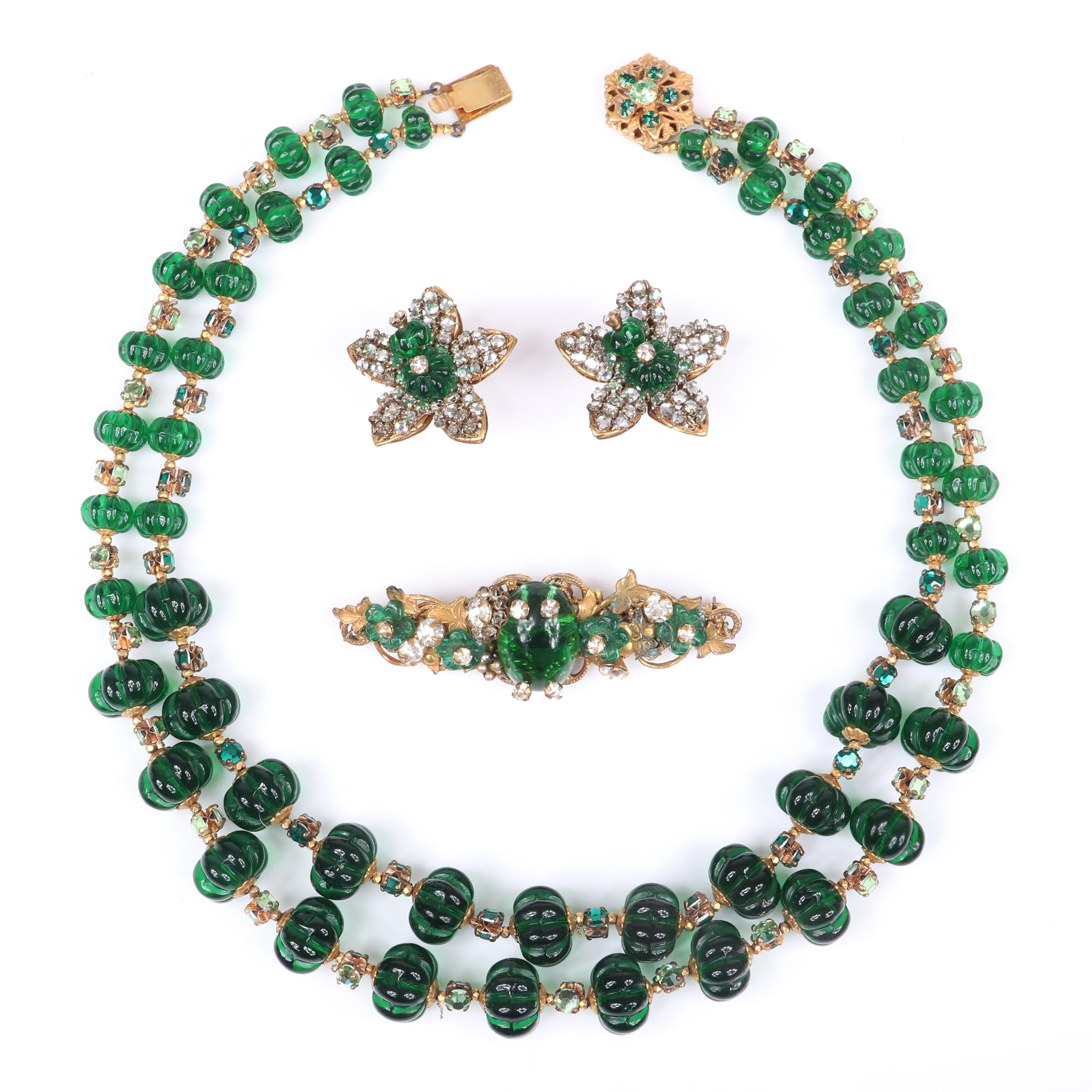 Miriam Haskell 3pc double strand necklace with green glass melon beads, pave flower earrings and brooch with green glass cabochon, flowers and rhinestones.
