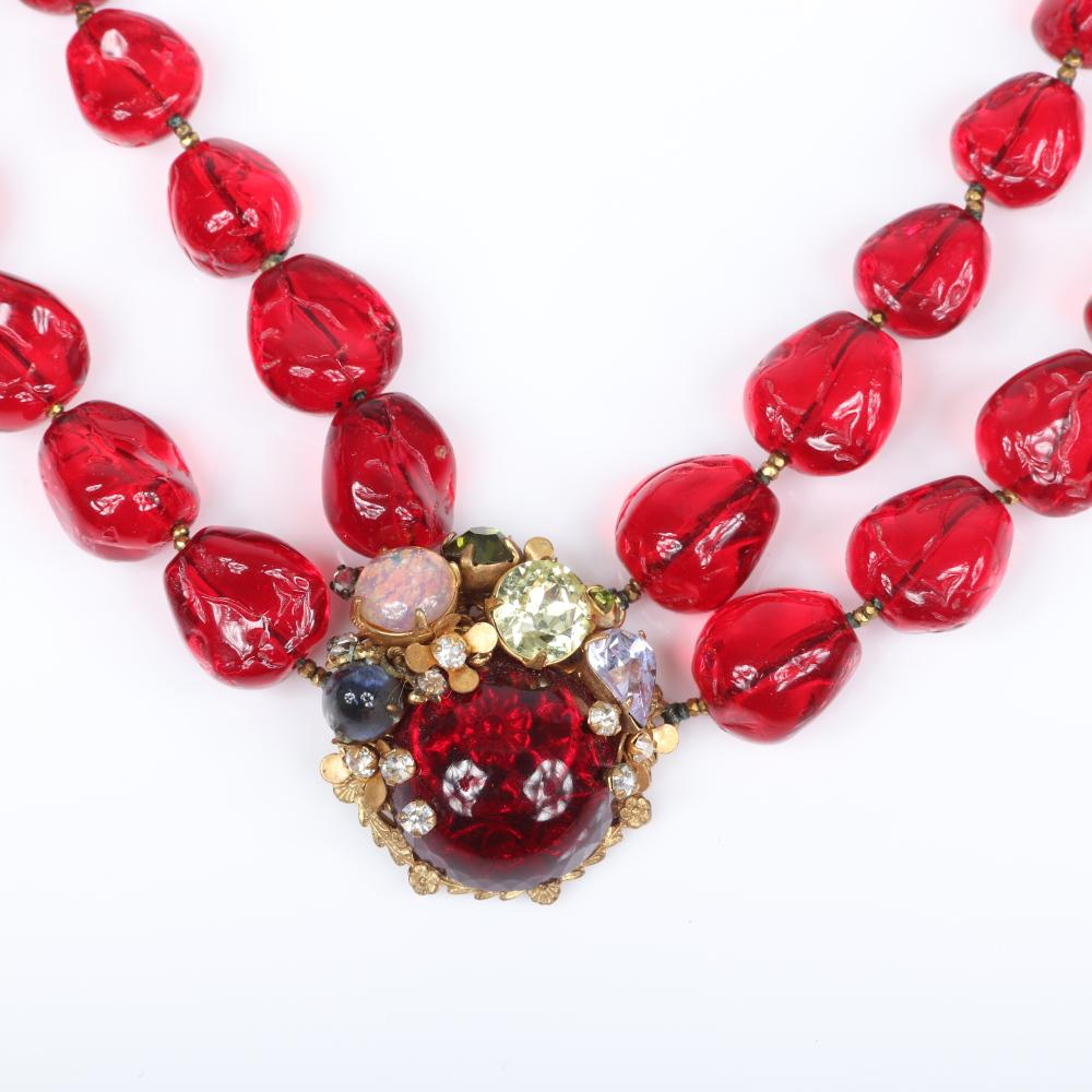 Miriam Haskell double strand twisted ruby glass bead necklace with large cabochon, faux opal, citrine and blue crystals, with faux opal and jeweled flower earrings.