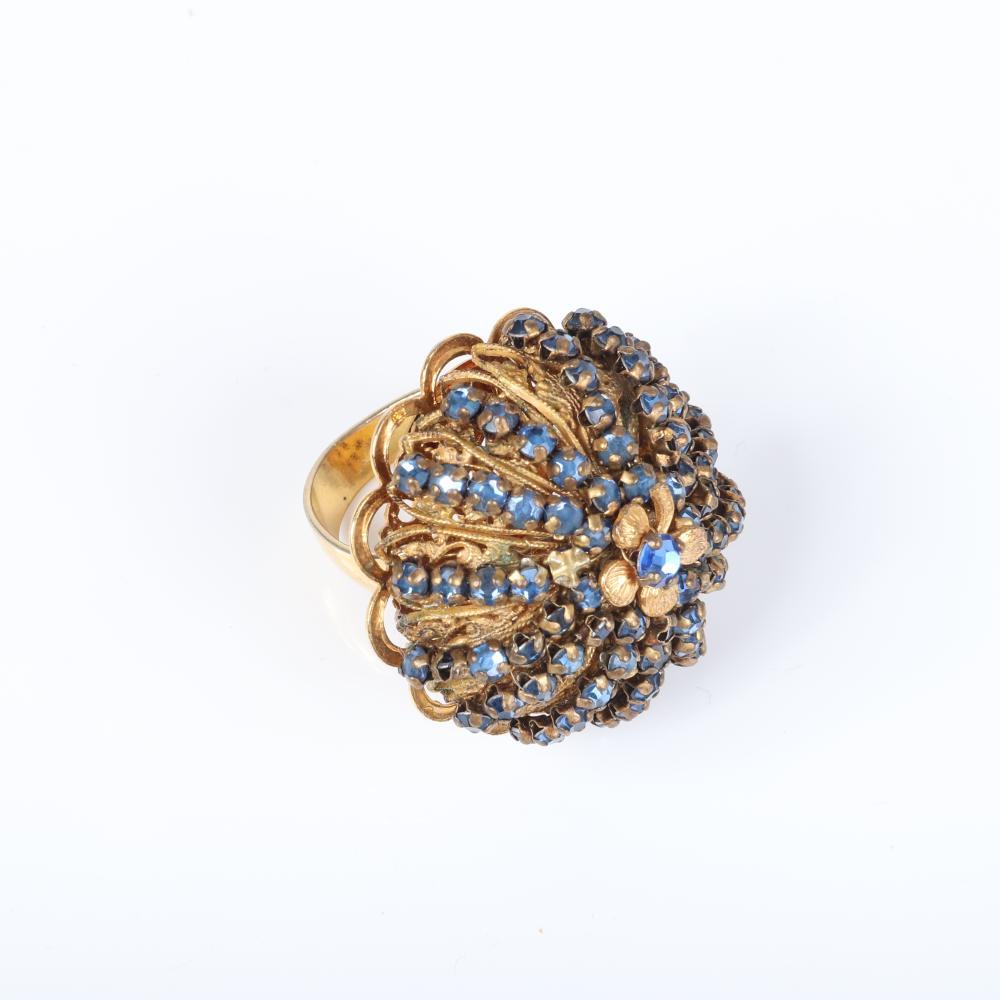 Miriam Haskell 3pc group, domed ring with strands of blue rhinestones & two pairs of earrings; one with faux micro pearl leaves and rhinestones and one with three leaves of gold rhinestones.