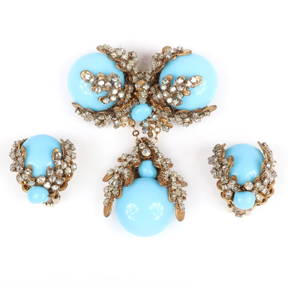 Miriam Haskell faux turquoise glass cabochon dangling pin and earring set with rhinestone encrusted oak leaves