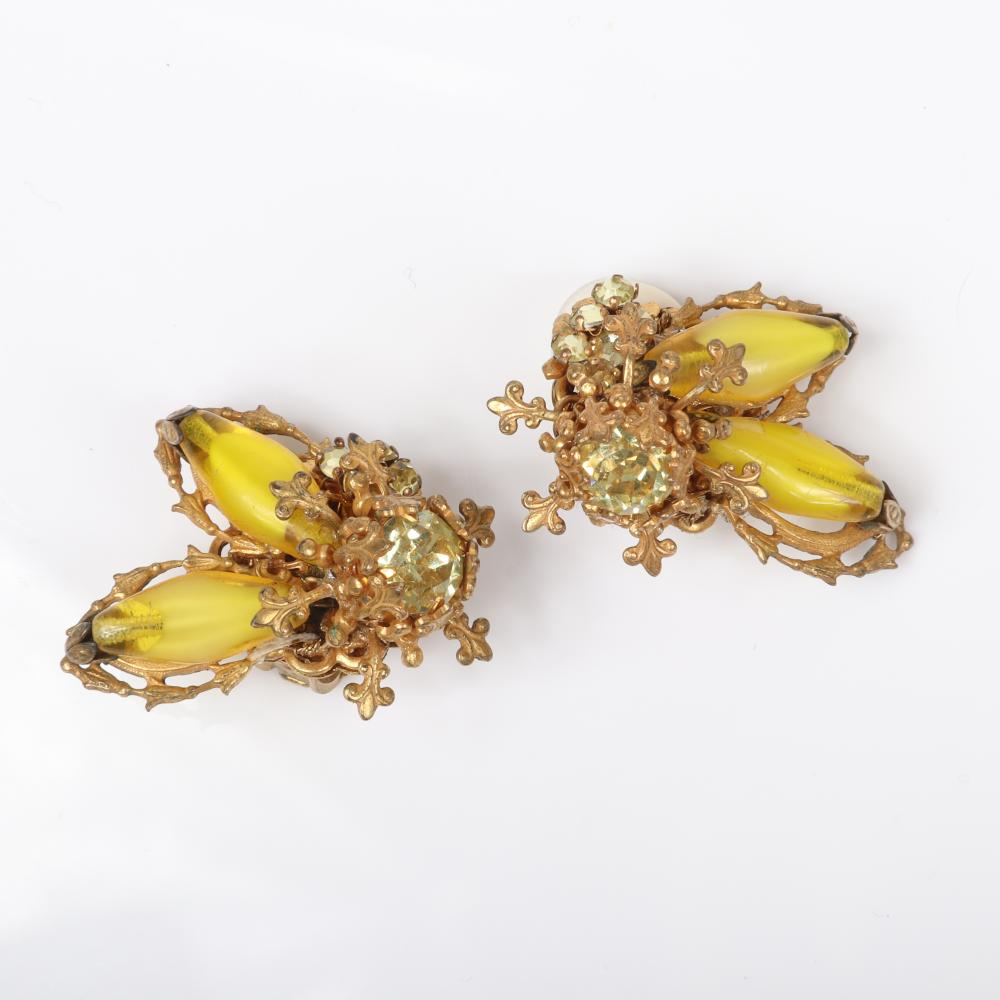 Miriam Haskell 4pc parure, collar necklace, bracelet, brooch & earrings with elongated marbled yellow glass stones & citrine crystal...