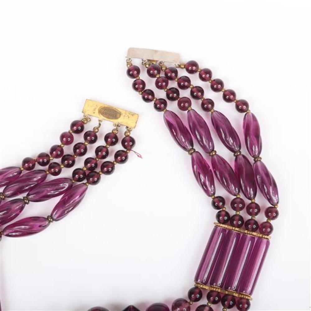 Miriam Haskell purple and marbled lavendar acrylic four-strand collar necklace.