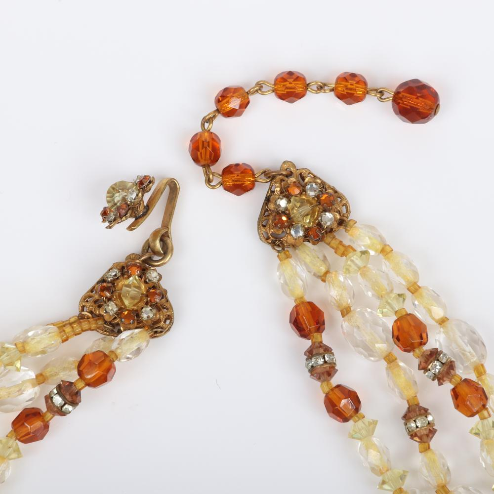 Miriam Haskell amber crystal parure 4-strand necklace, 3-strand bracelet and earring set with large dimensional crystals and pave rh...