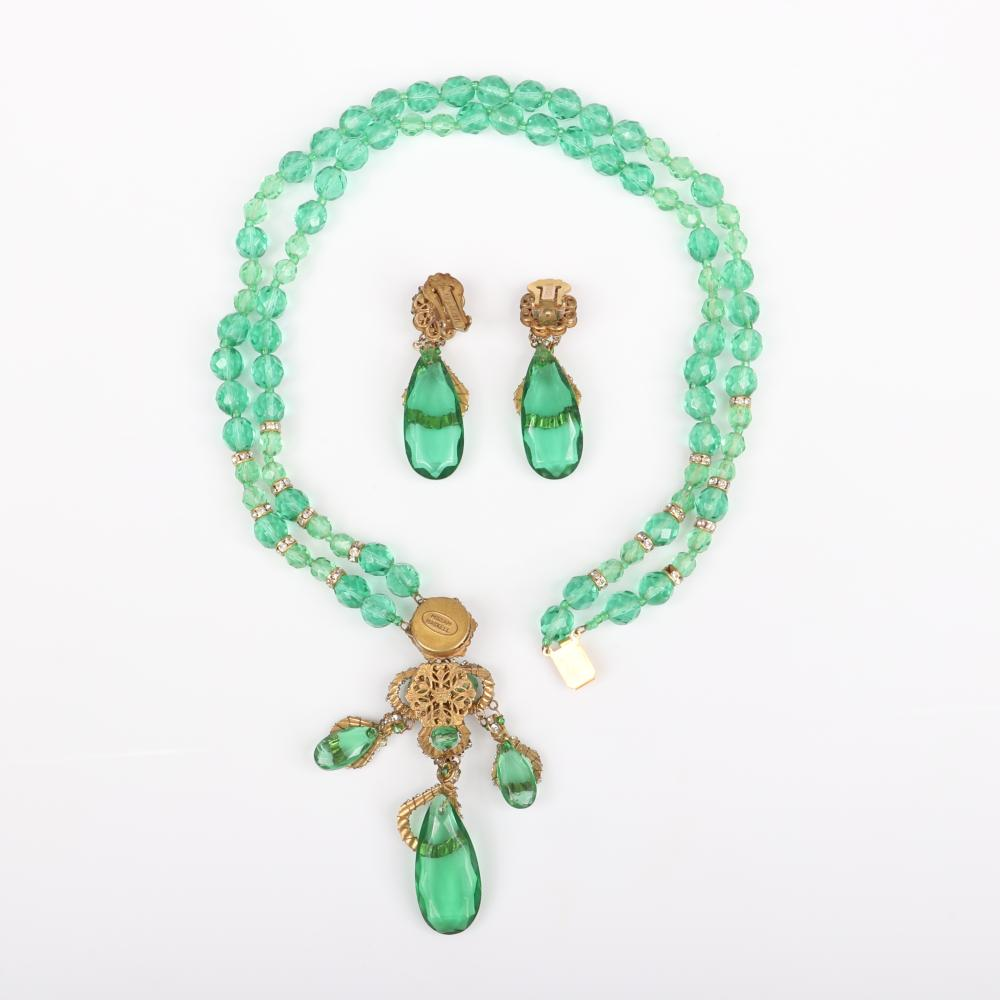 Miriam Haskell double strand chandelier drop pendant necklace and earring set with bright green crystals, rondelles and rhinestones. See matching bracelet.
