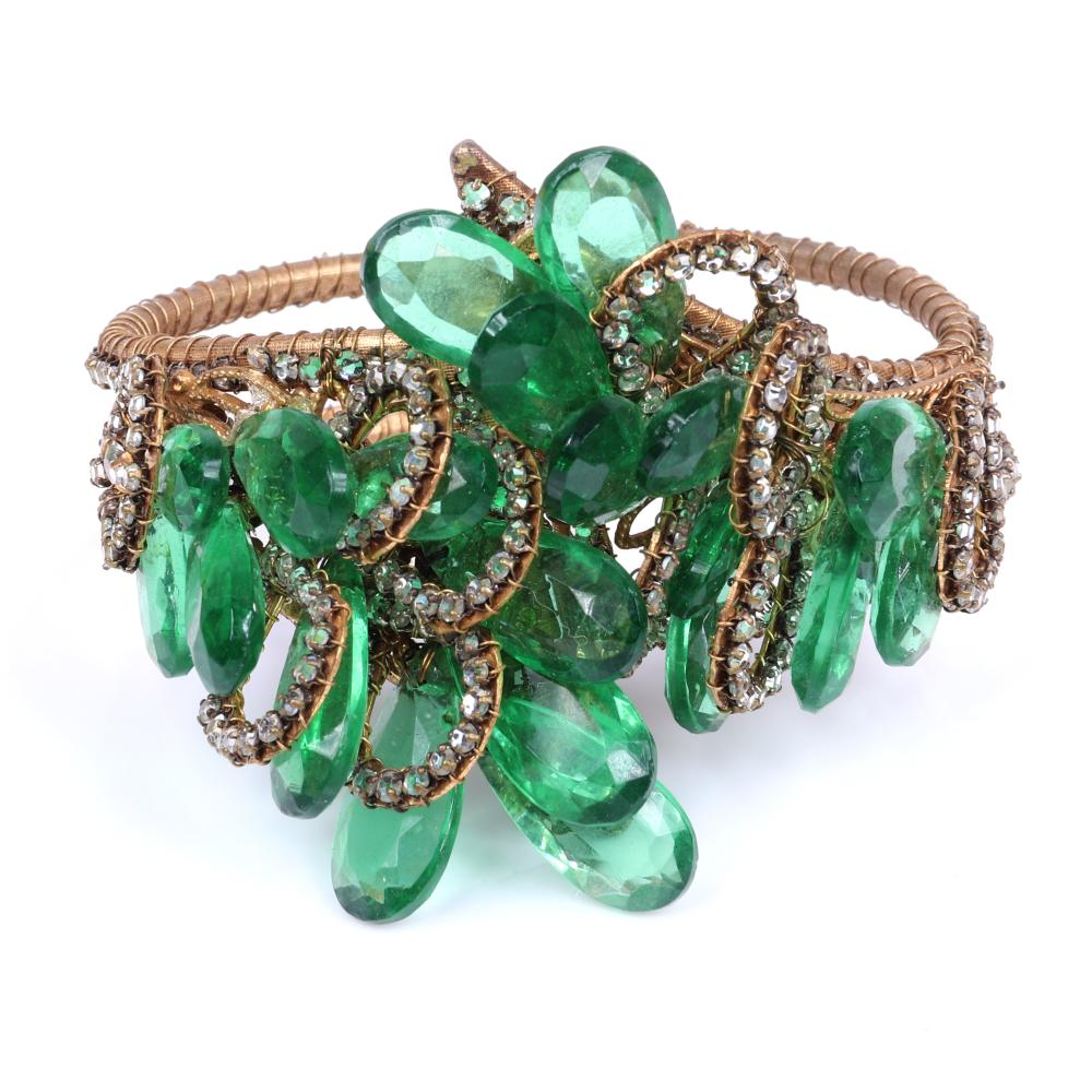 Miriam Haskell clamper cuff bracelet layered with emerald green faceted teardrop stones and rhinestone encrusted loops. See matching neckace and earrings.