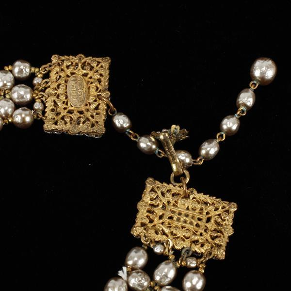 Miriam Haskell faux gray pearl beaded collar necklace with floral brass filigree clasp.