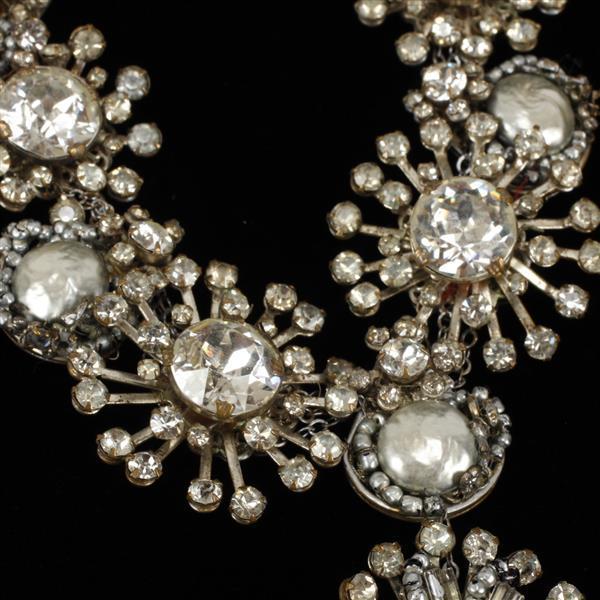 Miriam Haskell silver ice princess snow flower necklace; clear rhinestones & grey baroque pearls with teardrop.