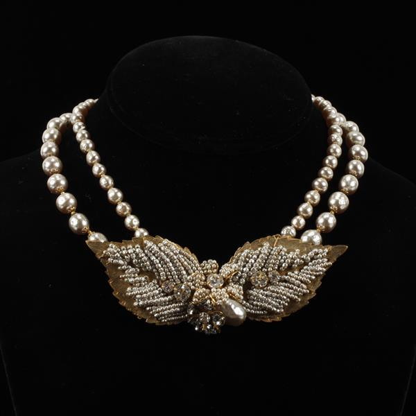 Miriam Haskell double strand faux pearl & seed pearl embellished gilt leaf necklace.