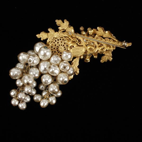 Miriam Haskell faux pearl & rhinestone encrusted berry branch cluster brooch pin.