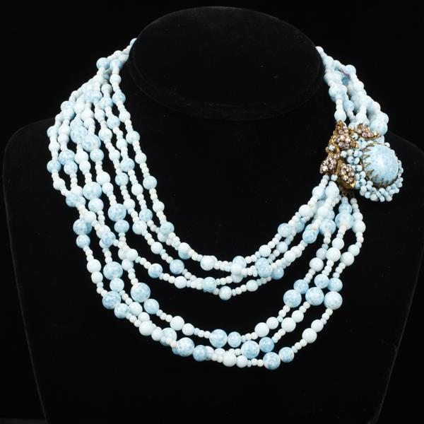 Miriam Haskell multi-strand pastel blue Peking glass beaded necklace with gilt jeweled cluster clasp.