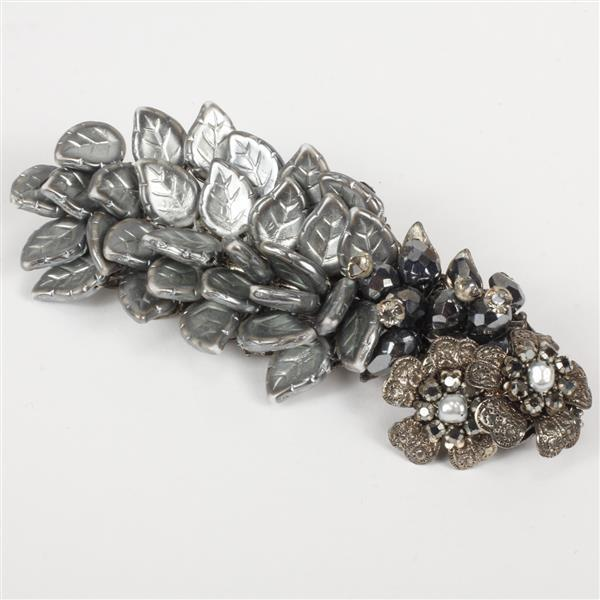 Miriam Haskell silver molded glass leaf cluster floral filigree brooch pin with pearls, rhinestones, and smoky gray faceted glass be...
