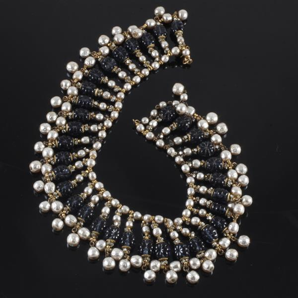 """Miriam Haskell Faux Sapphire Crystal Molded Bead & Pearl Collar. 16"""""""