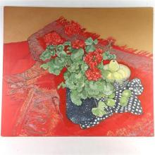 """Loren Dunlap, (American, b.1932), floral still life with geraniums and apples, oil on canvas, 48 1/2""""H x 56""""W"""