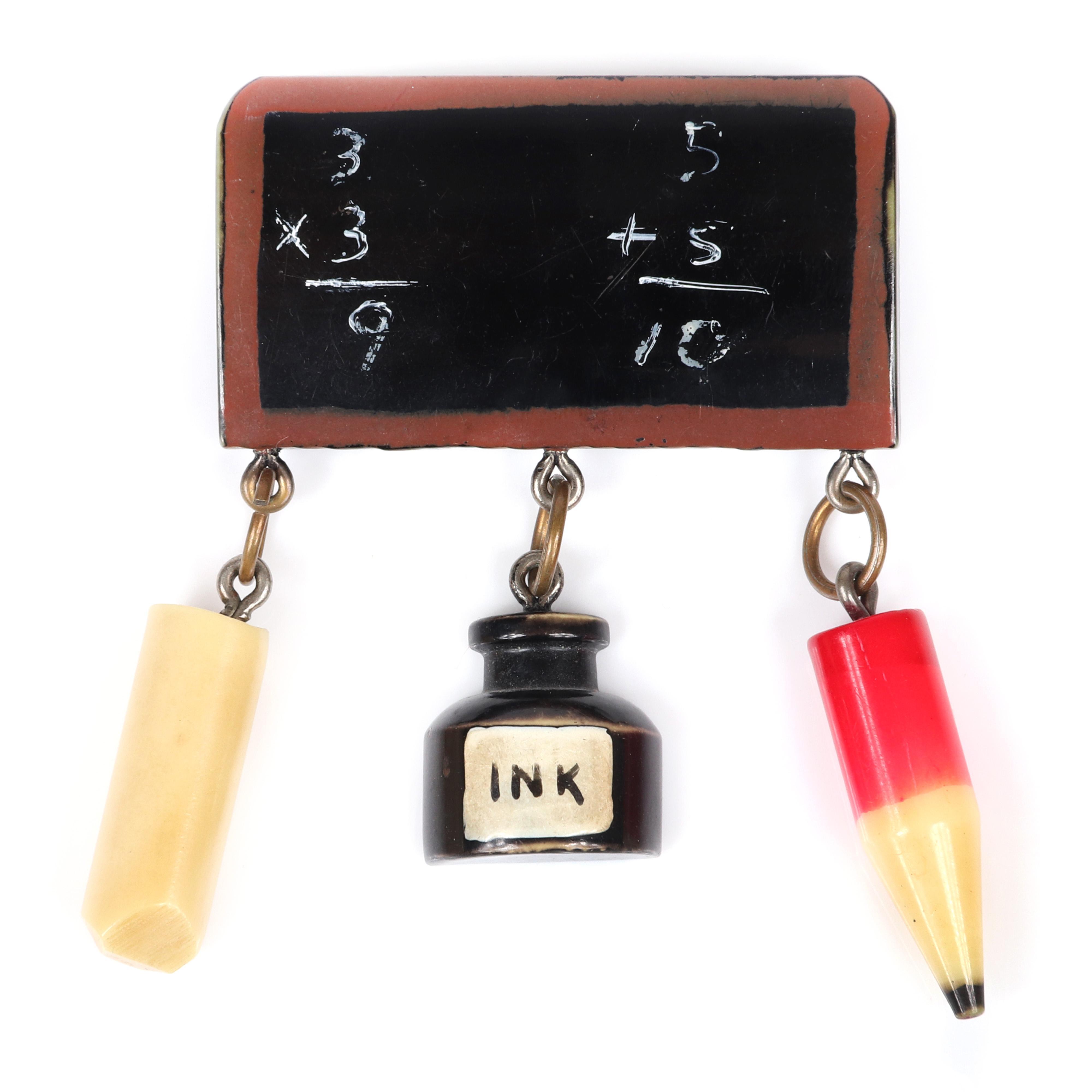 "Vintage Martha Sleeper? Bakelite ""School Days"" chalkboard pin brooch with chalk, ink and pencil charms. 2 3/4""H x 2""W"