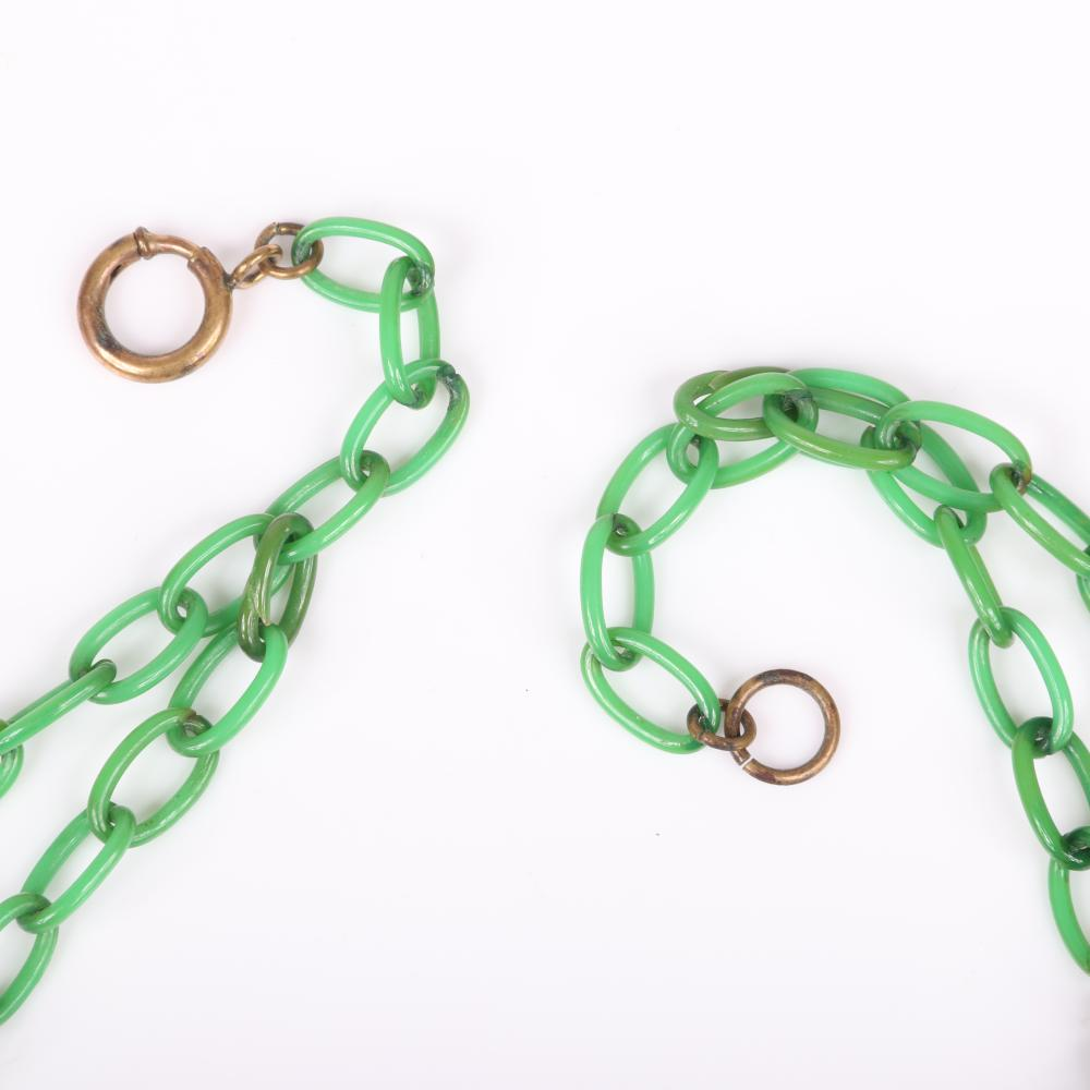 """Vintage Retro Bakelite necklace with creamed spinach faceted diamond motif rectangle charms separated by brass beads on green celluloid double chain. 17 1/2""""L, 1 3/8""""H (wedges)"""