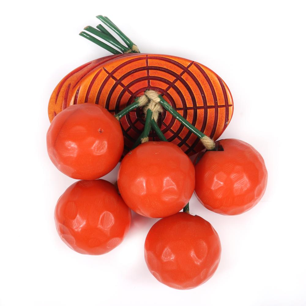 """Vintage Bakelite Dangling Fruit Cluster Pin With Five Carved Orange Charms Falling From Overdyed Woodgrain Brooch and matching earrings, 1940s. 2 1/2""""H X 2 1/2""""W (brooch)"""