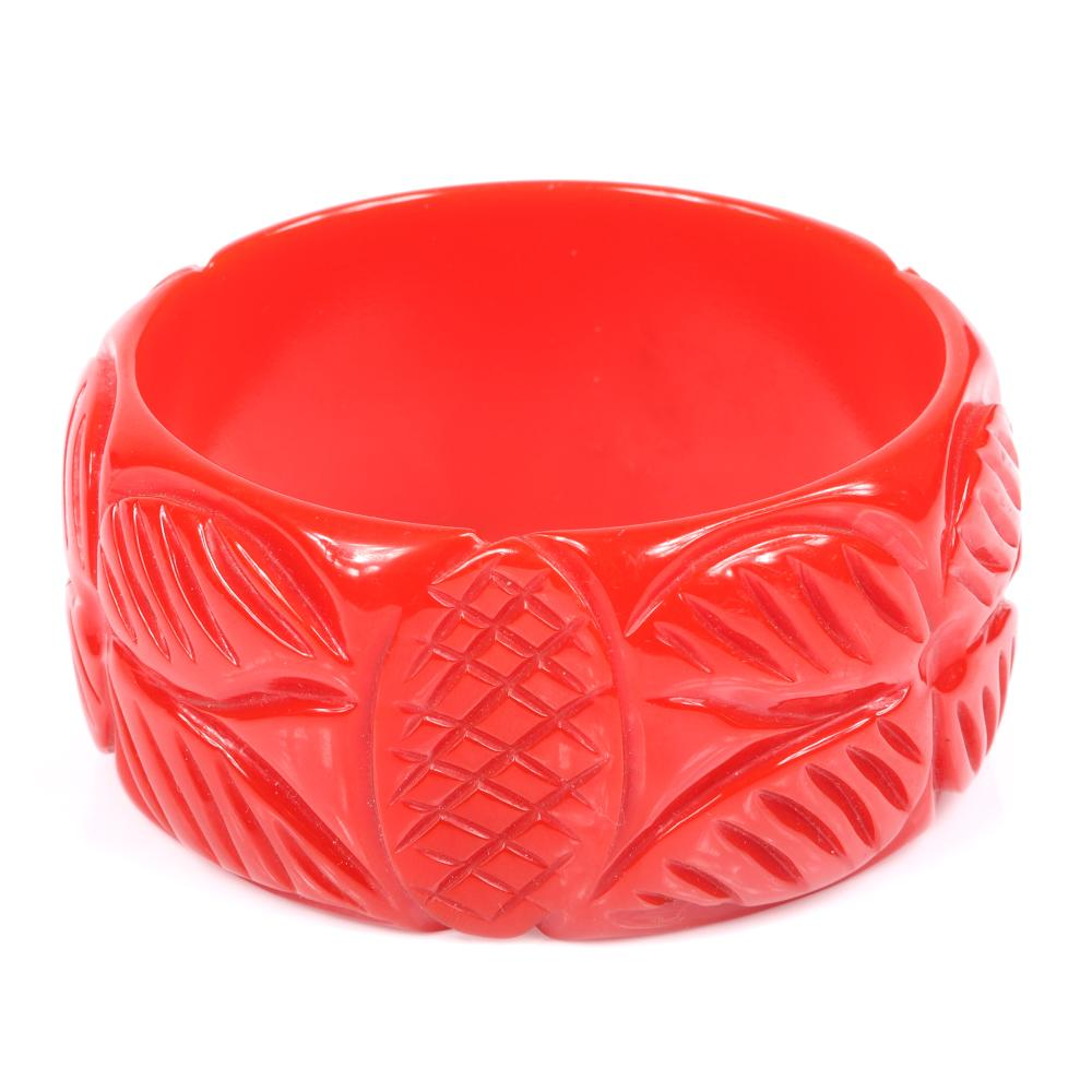 """Vintage WIDE carved Bakelite bangle bracelet in tomato RED with three crosshatch pineapple tropical plant motif. 2 1/2"""" inner diam, 1 1/2""""W"""