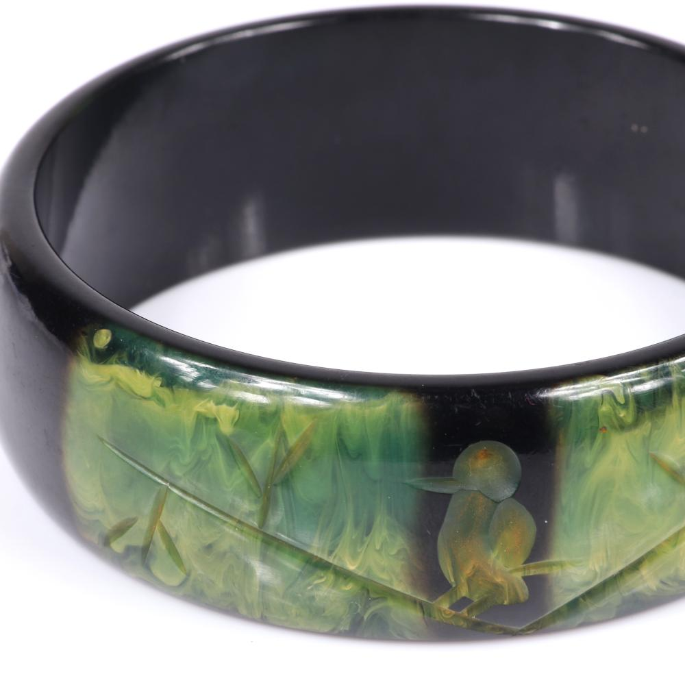"Vintage Bakelite wide bangle bracelet with marbled creamed spinach to black ombre effect and carved bird on branch design. 2 1/2""inner diam, 7/8""W"