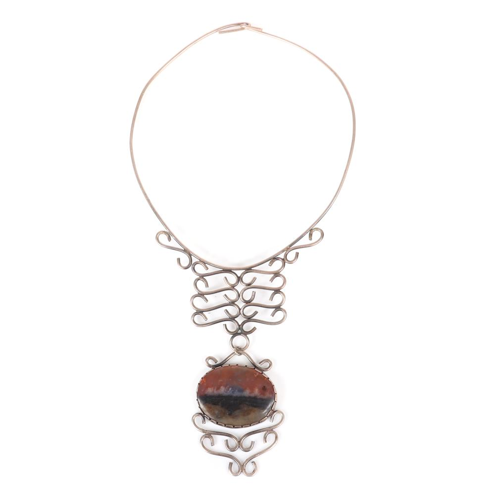"""Mildred Ball American Modernist sterling wire choker with scrollwork and large oval agate cabochon in shades of brown and black. 4 1/2"""" inner width (choker), 4""""H (pendant drop)"""